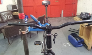 The new bars, waiting for the brakes and grips to be added